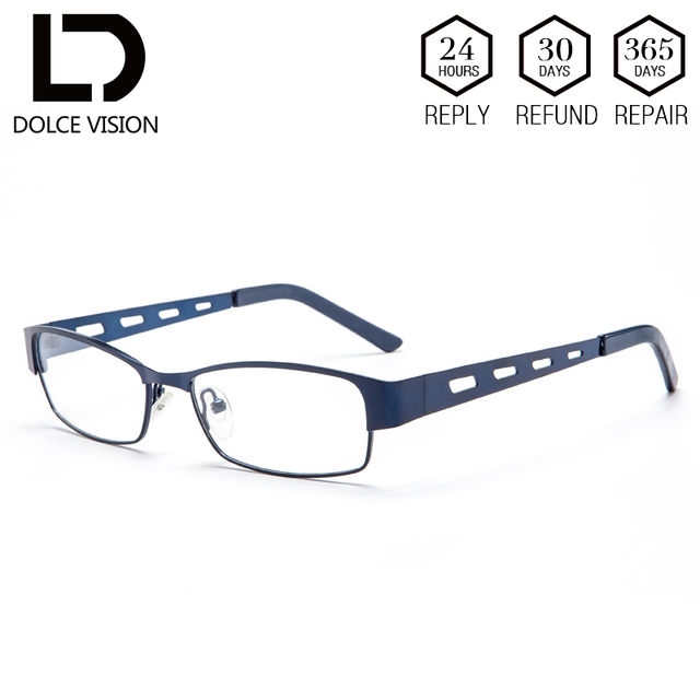 c6f18b8309 DOLCE VISION Rectangle Diopter Glasses Prescription Lens Men Hollow Metal Eyeglasses  Male Astigmatism Glasses High Quality New