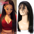 New!! Pre Plucked 360 Lace Frontal Closure Brazilian Straight Virgin Hair Natural Hairline Lace Band Full Frontal with Baby Hair