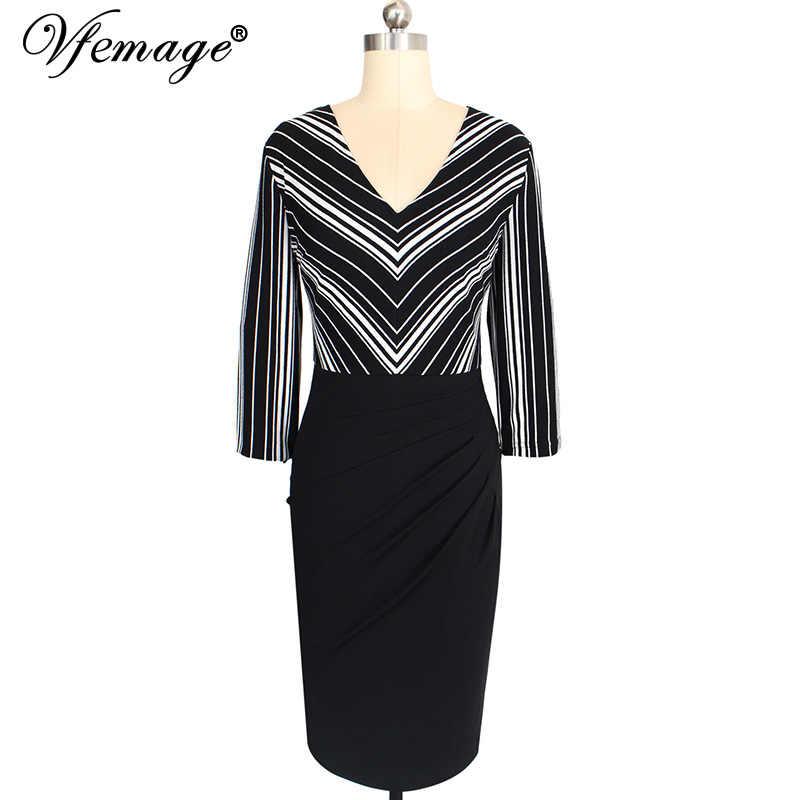 Vfemage винтажная полосатая Лоскутная Сексуальная Повседневная одежда с v-образным вырезом для работы vestidos Bodycon деловая Офисная женская одежда платье 151