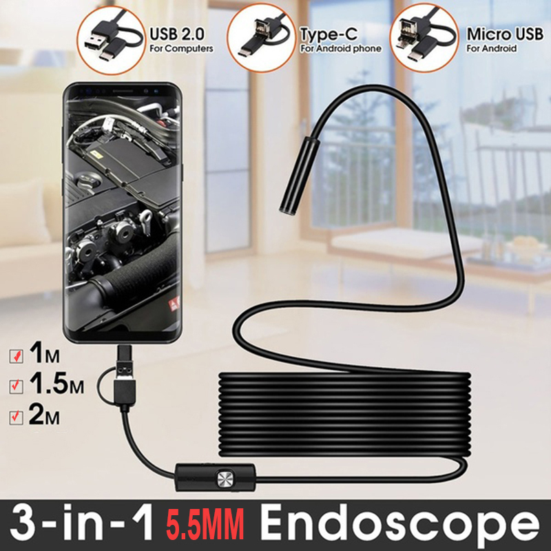 2m 1.5m 1m Mini 5.5mm Lens Snake Endoscope Camera  Hard Semi-rigid Borescope Car Inspection Camera For Smartphone Android PC