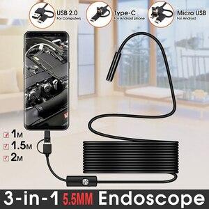 Image 1 - 2m 1.5m 1m Mini 5.5mm Lens Snake Endoscope Camera  Hard Semi rigid Borescope Car Inspection Camera for Smartphone Android PC