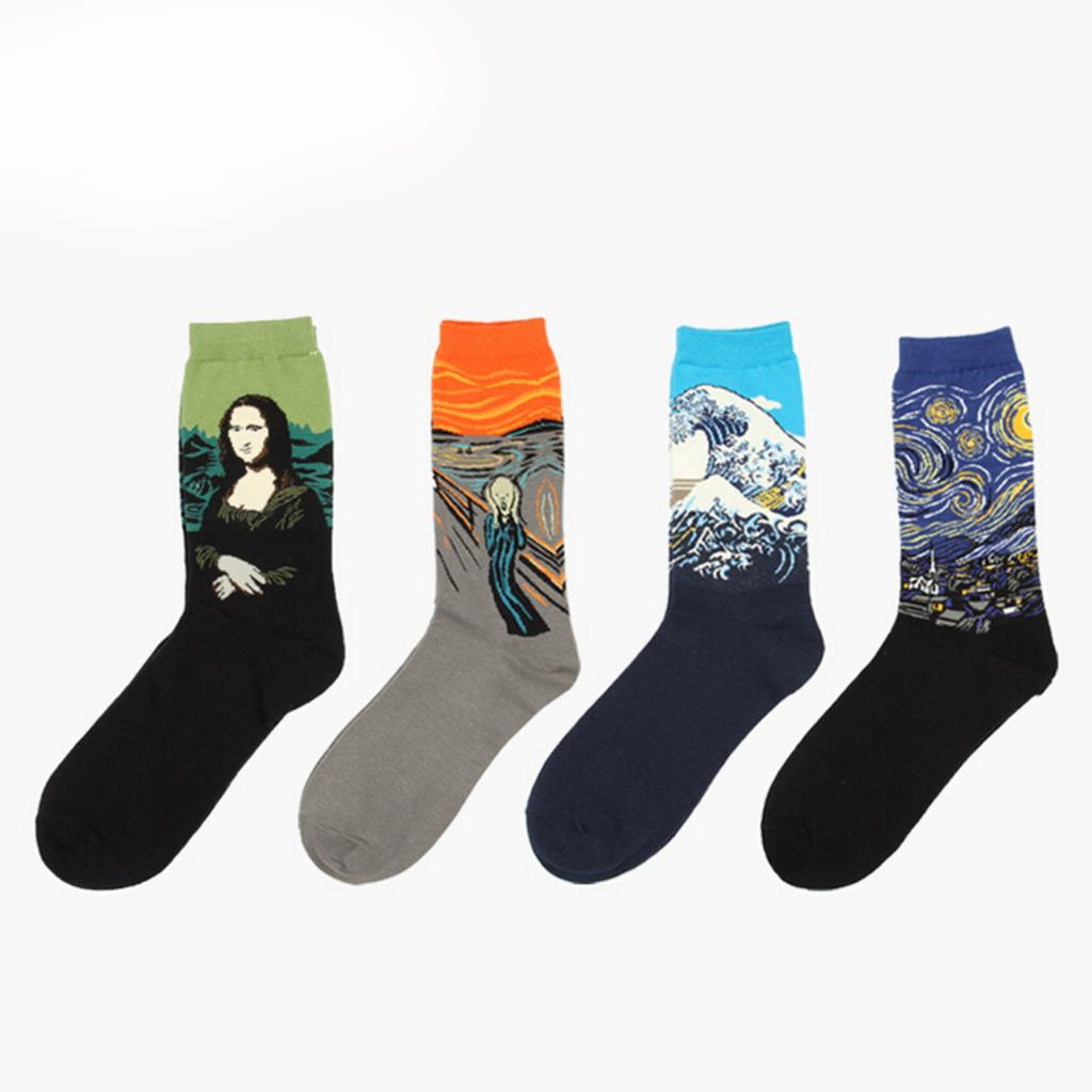 1 Pair Men Socks The Abstract Painting Series Of Autumn Winter Mens Cotton Socks In Tube Retro Notre Dame Cupid Christmas Sock