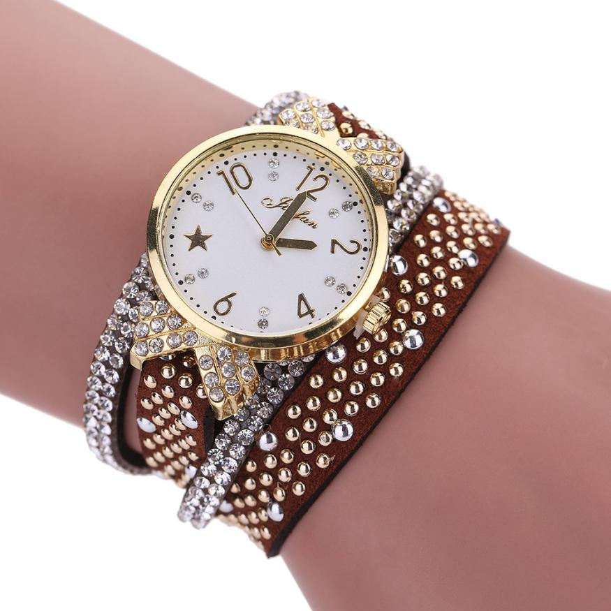 Professional Sale Best Sale 2016 Fashion Womens Bracelet Vintage Weave Wrap Quartz Pu Leather Leaf Beads Wrist Watches Lady Watch Relogio Feminino Orders Are Welcome. Quartz Watches