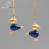 Lotus Fun Moment Real 925 Sterling Silver Natural Stone Vintage Fashion Jewelry Lovely Bird Simple Dangle Earrings for Women