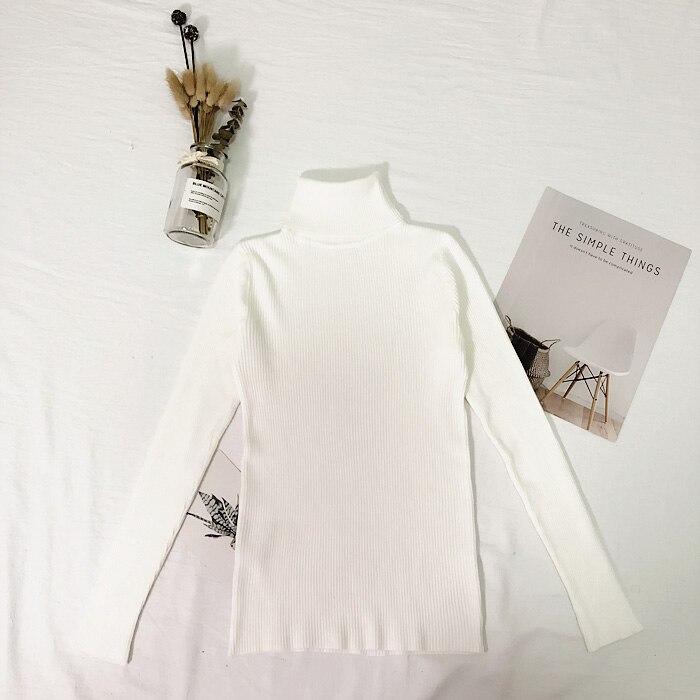 Женские свитера, зимние топы, водолазка, свитер для женщин, тонкий пуловер, джемпер, вязаный свитер, Pull Femme Hiver Truien Dames, новинка - Цвет: Белый