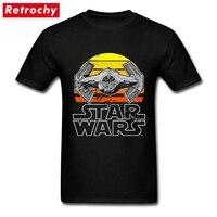 Fajne Graficzne T-shirty Star Wars Vintage TIE Fighter Rodziny Udzielenie Druku Koszulka Homme Sprzedaż Unikalne Odzież Z Krótkim Rękawem