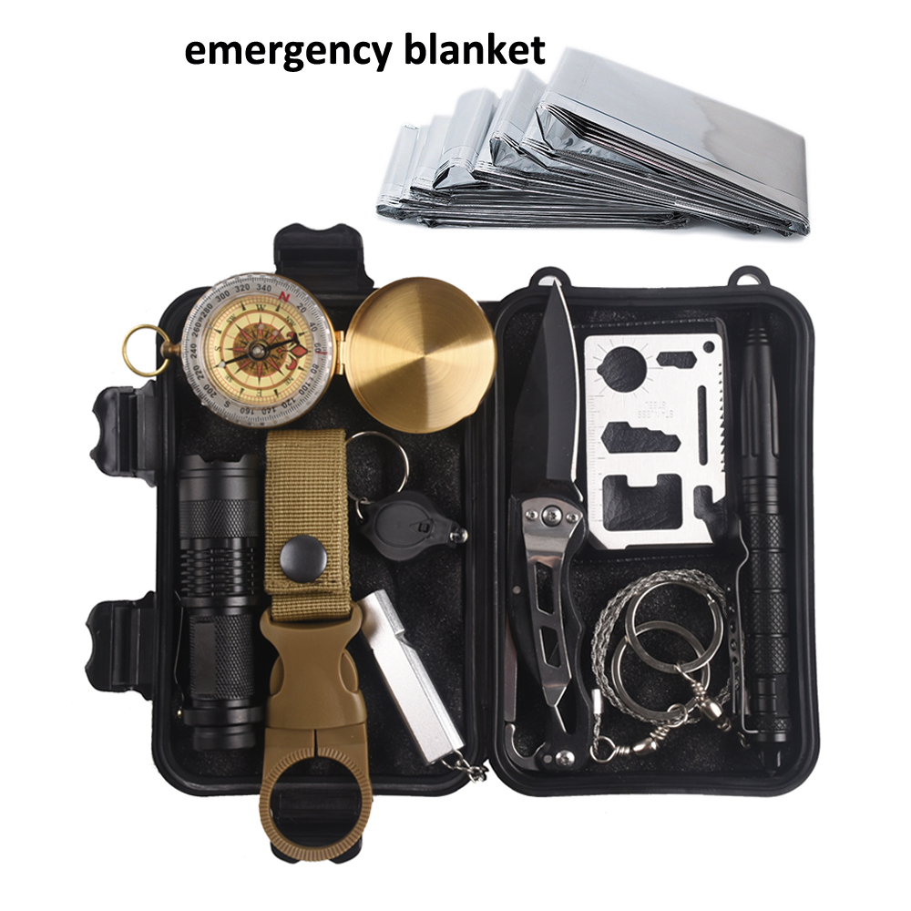 11 in 1 survival kit Set Outdoor Camping Travel Multifunction First aid SOS EDC Emergency Supplies Tactical for Survival Kit
