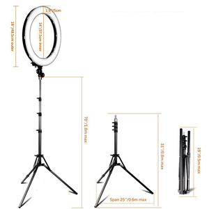 Image 4 - samtian ring lamp 18 inch ring light with tripod makeup mirror phone clip ring lamps dimmable 5500K for Youtube ringlight