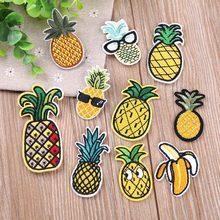 Ananas Fruit Borduurwerk Patch Heat Transfers Iron On Sew Patches voor DIY T-shirt Kleding Sticker Decoratieve Applique 47318(China)