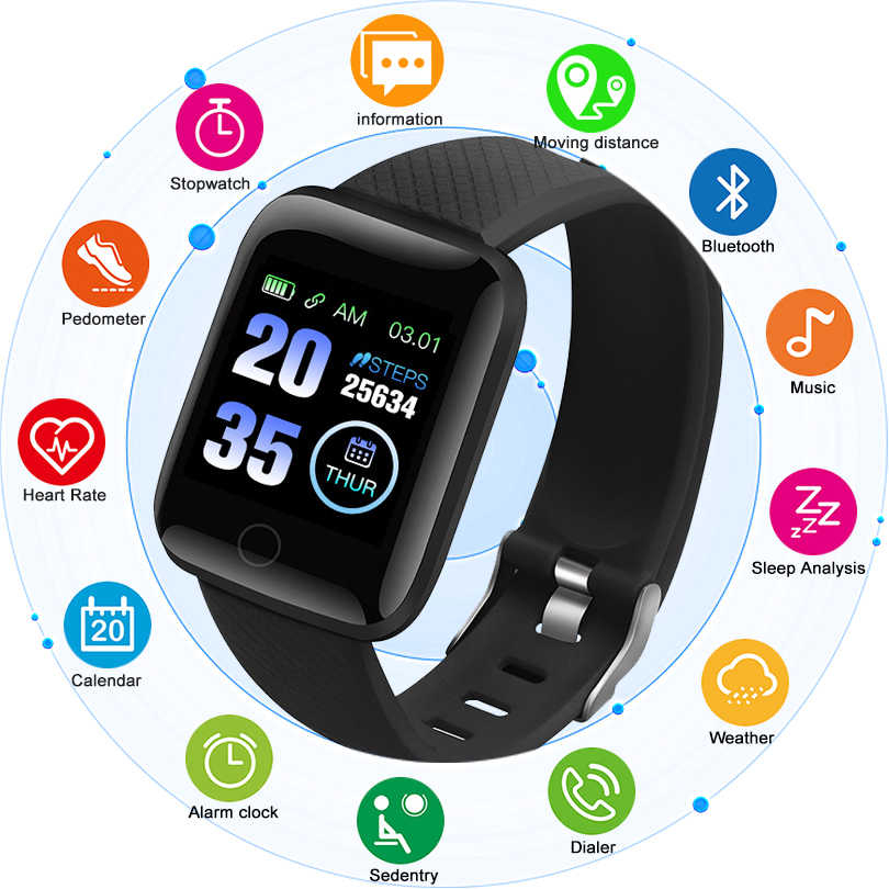 CHENXI Men Smart Watch 1.3 Inch Digital Watches Fitness Tracker Heart Rate Blood Pressure Monitor Smart Band For Android IOS+Box