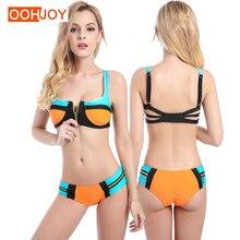 Купить с кэшбэком 2017 New Sexy Bikini Women Swimsuit Low Waist Bathing Suit Zipper Push Up Solid Patchwork Beachwear Brazilian Bodysuit Tankini L