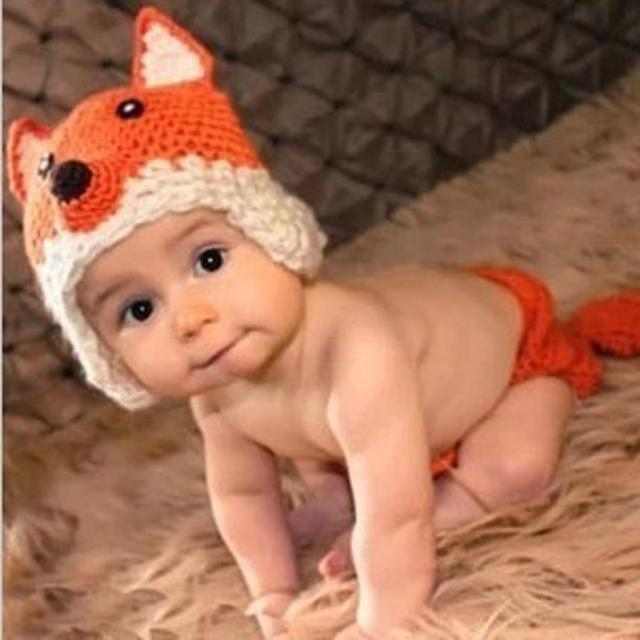 Cute Newborn Baby Girl Boy Crochet Knit Fox Shorts+Hat Photography Prop  Photo New born 268c8ffc17d