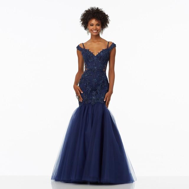 9d02d45087c1 Navy Blue Prom Gown Mermaid vestido de festa with Crystal Spaghetti Straps  Plus Size Tulle Mermaid