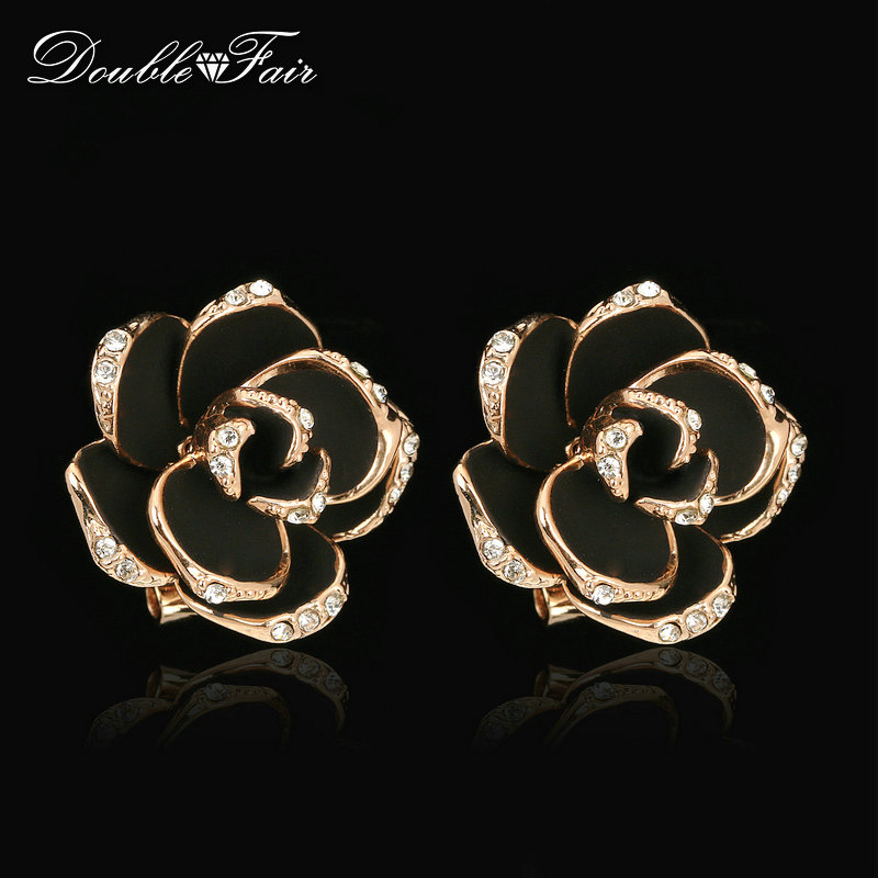 Double Fair Mosaic Black Rose Flower Crystal Stud Earrings Rose Gold Color Fashion Vintage Ear Jewelry For Women/Girls DFE660