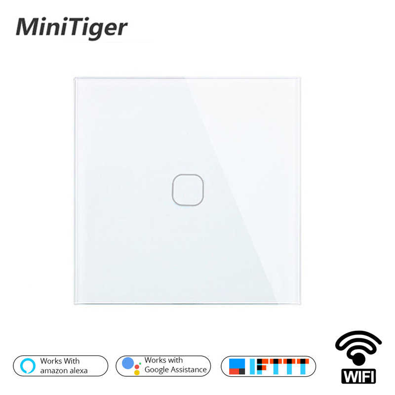 Minitiger EU/UK Smart Wifi Wall Light Touch Switch 1 2 3 Gang Touch/WiFi/433 RF/APP Remote Smart Home Wall Touch Switch