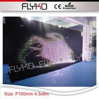 Белый/теплый белый/RGB красочный светодиодный дисплей изображения и вспышки Большие размеры 4,5x8 м занавес P10 настенных розеток для шоу