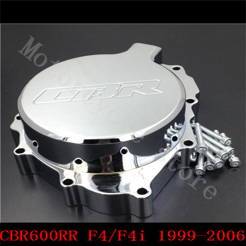 Fit for Honda CBR600RR CBR600 F4 F4i 1999 2000 2001 2002 2003 2004 2005 2006 Motorcycle Engine Stator cover Chrome left side aftermarket free shipping motorcycle parts motor engine stator cover honda cbr600rr f4 f4i 1999 2006 left black