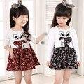 Новая коллекция весна детские девушки одеваются девушка одежда с длинным рукавом кролик платье для девушки дети платье принцессы дети туту платье