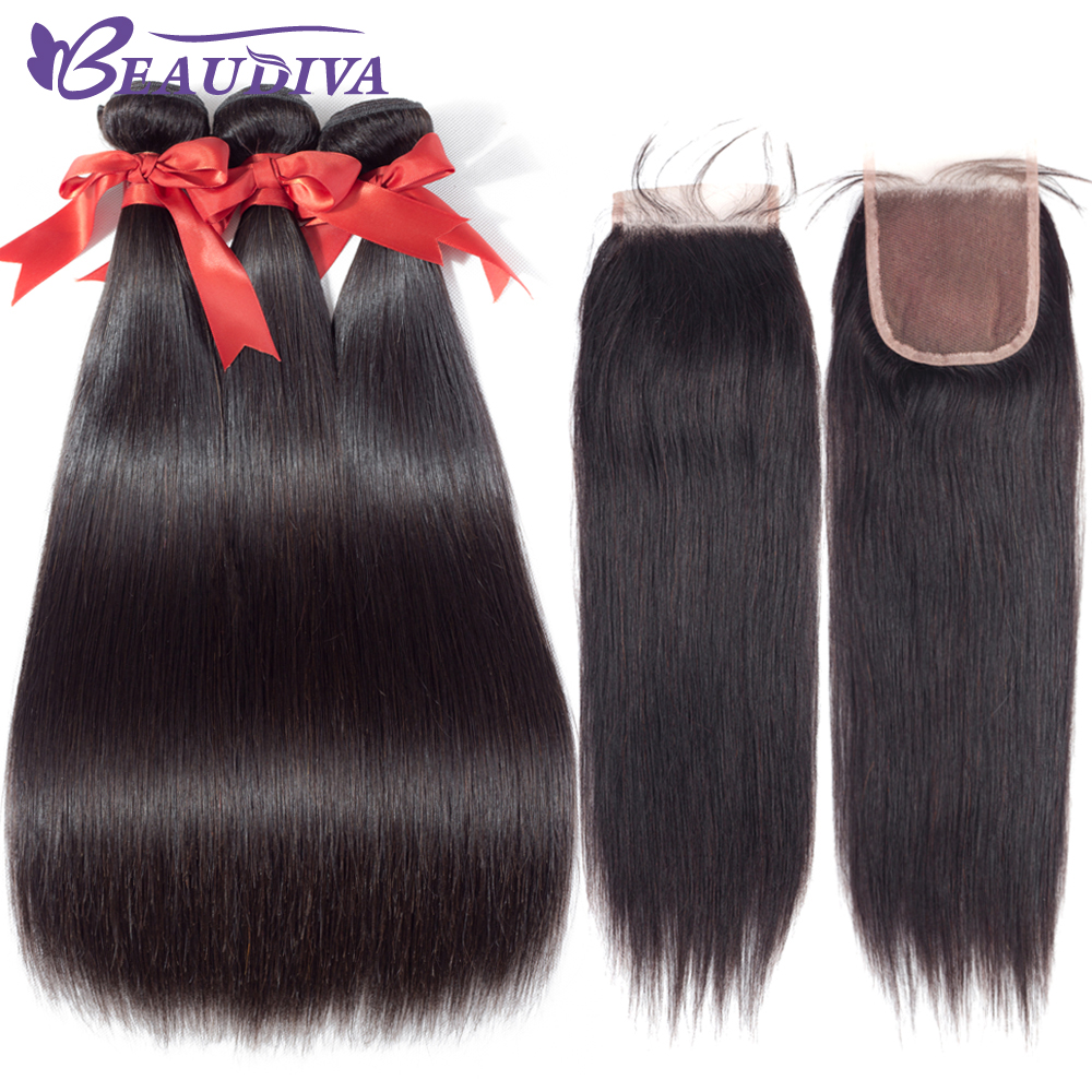 BEAUDIVA Indian Straight Human Hair Bundles with Closure 4*4 Raw Indian Hair Lace Closure Natural Color 8-24inch Free Shipping