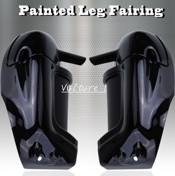 Vivid Black Lower Vented Fairing For Harley HD Road King Street Glide Touring parts vivid black lower vented fairing leg warmer for 2014 2015 2016 2017 harley touring