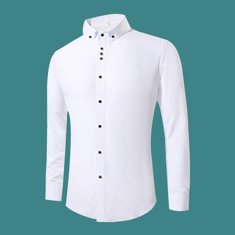 b215a56684 2018 nueva moda blanco camisas de vestir de los hombres de manga larga  Casual blanco Formal hombres Camiseta Slim Fit camisa de boda Hombre Ropa  tops