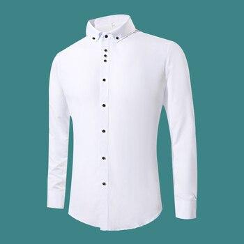 2018 nueva moda vestido blanco camisas hombres manga larga Casual blanco Formal camisa hombres Slim Fit boda camisa Hombre Ropa tops