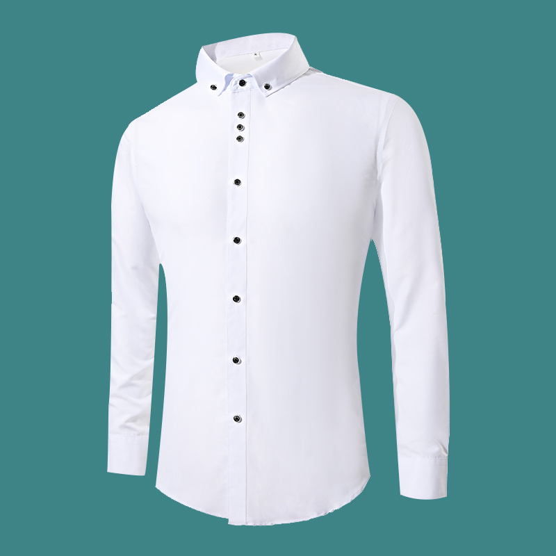 New Fashion White Dress Shirts Men Long Sleeve Casual White Formal Shirt Men Slim Fit Wedding Shirt Male Clothing Tops