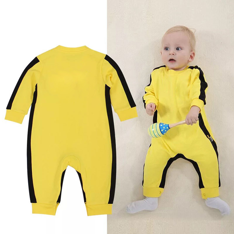 Newbron Boys & Girl Bebes Rompers Kung Fu Yellow Bruce Lee Rompers Baby Clothing Spring/Autumn/winter Baby Boy Rompers Jumpsuit mother nest 3sets lot wholesale autumn toddle girl long sleeve baby clothing one piece boys baby pajamas infant clothes rompers
