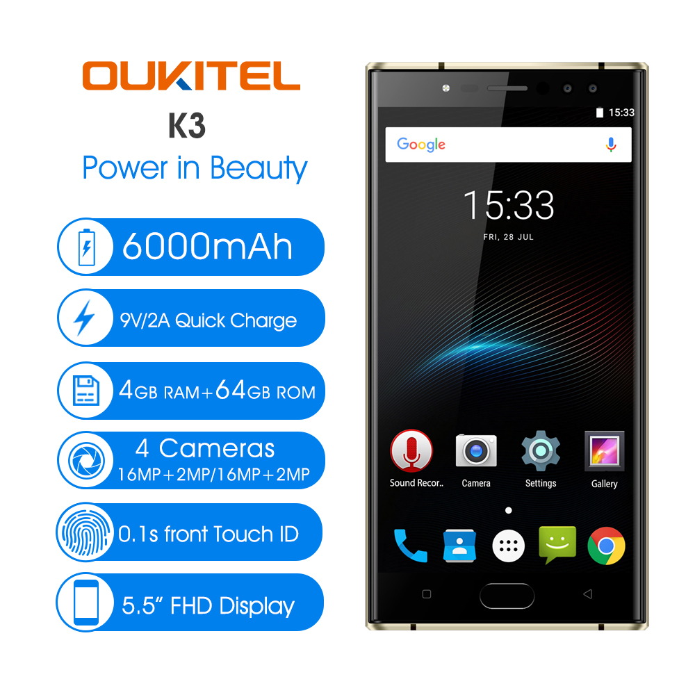 Pre-sale OUKITEL K3 5.5'' Smartphone 4GB+64GB Android 7.0 MT6750T Octa Core 1920*1080 FHD 6000mAh 16MP+16MP Curve Mobile Phone