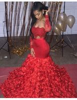 Sexy African Black Girls Long Sleeve Red Mermaid Prom Dresses 2020 3D Flowers Evening Dresses Long Two Piece Prom Dress