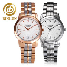 BINLUN Luxury Quartz Watch Couple Rose Gold / Sliver Strap Rome Dial Top Brand  Watches Sapphire Glass WatchES