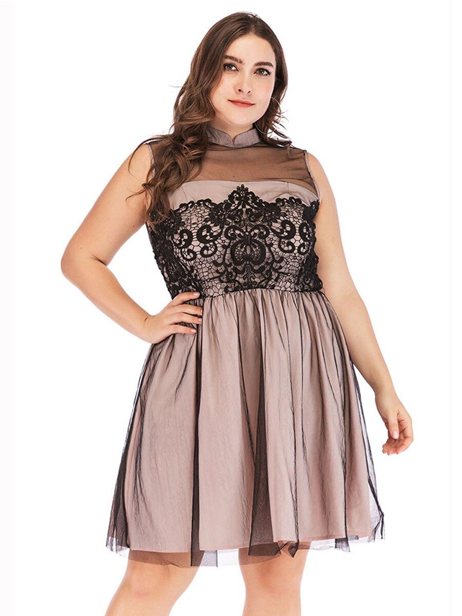 Женское короткое платье для вечеринки, модное, цвета хаки, без рукавов, кружевное, Тюлевое, выше колена, летний больших размеров, Дамское Пла...