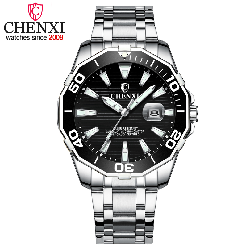 CHENXI Men Brand Luxury Watches Man Military Army Sports Watches Men's 3Colour Fashion Dial Quartz Waterproof Clock Mens Watches