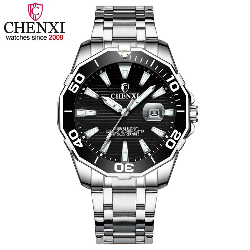 CHENXI Men Brand Luxury Watches Man Military Army Sports Watches Men's 3Colour Fashion Dial Quartz Waterproof Clock Mens Watches