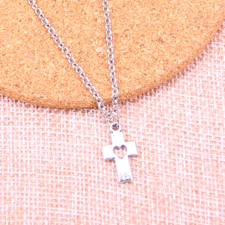 Fashion Antique Silver Color 18*10mm cross heart Pendant Necklace,Handmade Necklace Dropship Suppliers