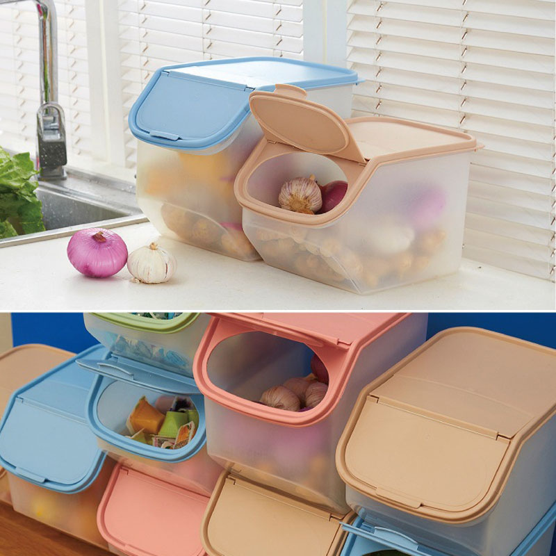 Dried Food Storage Sealed Box With Measuring Cup Plastic Kitchen Cereal Flour Rice Bin Bean Grain Container Organizer FP