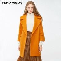 Vero Moda new lapel drop shoulder long woolen coat female|318327521