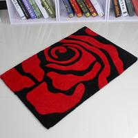 High Quality Thickness Acrylic Fiber Carpet Door Floor Mat Hall Rose Flower Felt Cute Bathroom Non slip Rug 40x60cm