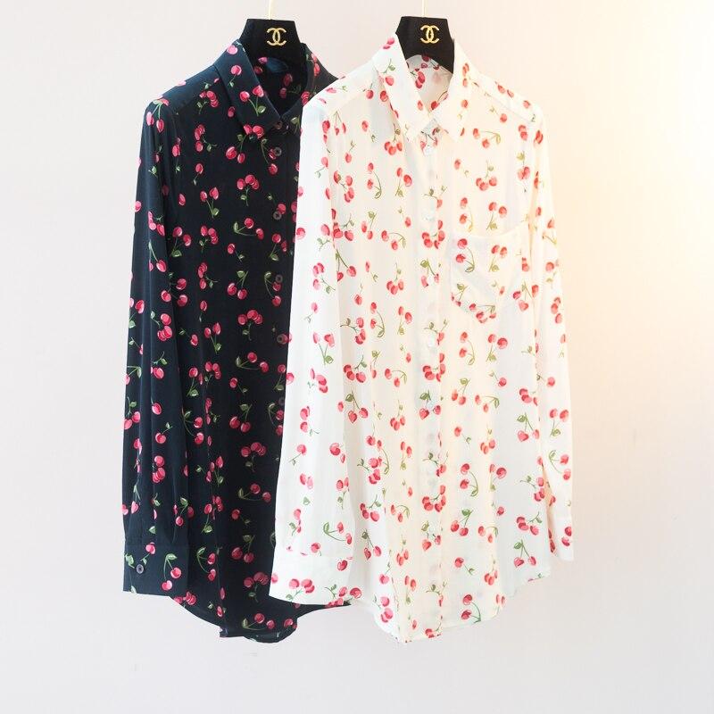 Gedruckt Stoff Langermel Gre Mode Frauen Gro e Shirts 2019 Translucent 100Seidenbluse Neue SchwarzElfenbein Farben Umlegekragen 2 Kirsche eoWxBrdC