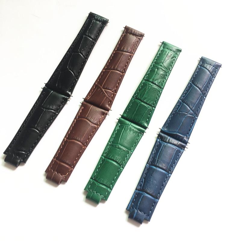 TJP De Luxe marques 20 MM Noir Vert Brun Bleu Véritable Bracelet en cuir pour DAYTONA SUBMARINER GMT Rôle Montre x bande Avec Printemps Bar
