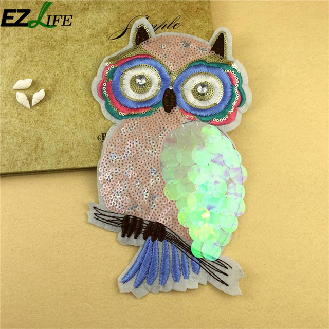 Owl Shape Sequin Applique Embroidery Patches For Clothing Clothes