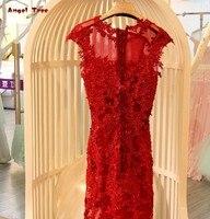 בת ים שמלת הערב רשמי שמלות המפלגה vestidos דה הפסטה ארוך--תחרה יוקרתית שמלת תחרה עד בחזרה תמונה אמיתית ערב