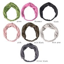 Women Spring Autumn Headband Vintage Cross Knot Elastic Hair Bands Soft Solid Girls Hairband Accessories