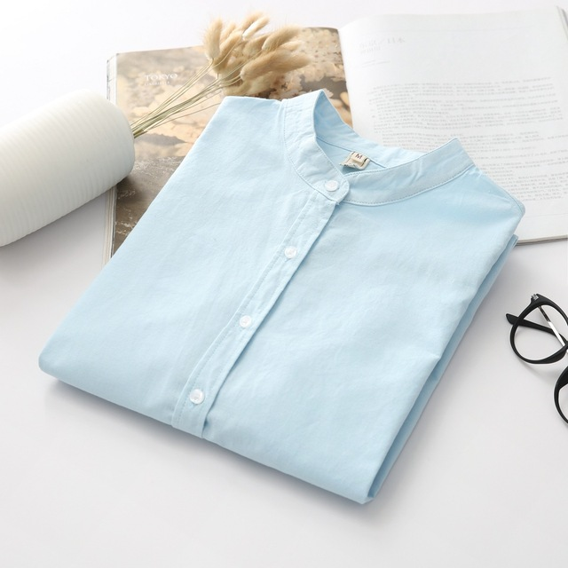 Blouse 2018 Autumn New Women's Shirt Casual Cotton Stand Collar Solid Color White Shirts Office Long Sleeve Blouses Lady Tops Women Shirts