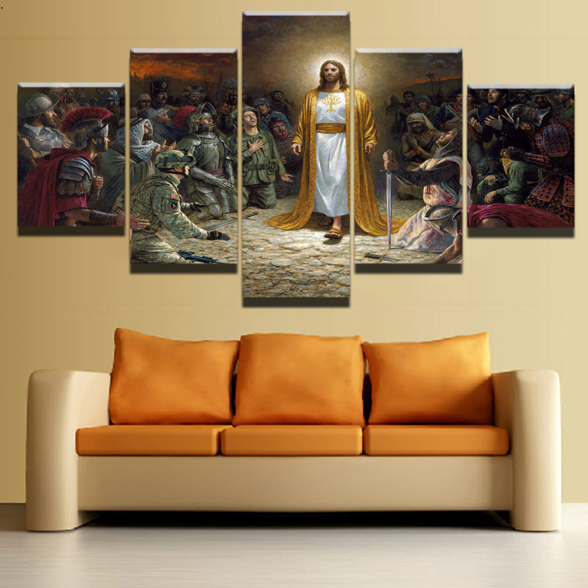 Canvas Pictures Home Decorative Wall Art 5 Pieces Religious Christian Paintings Hd Prints Type