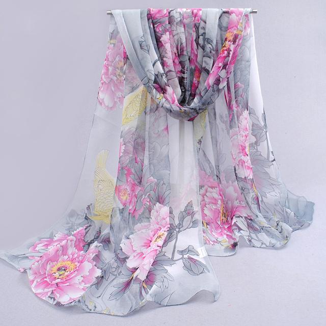 Chal de Gasa para Mujer en Estampado de Flores