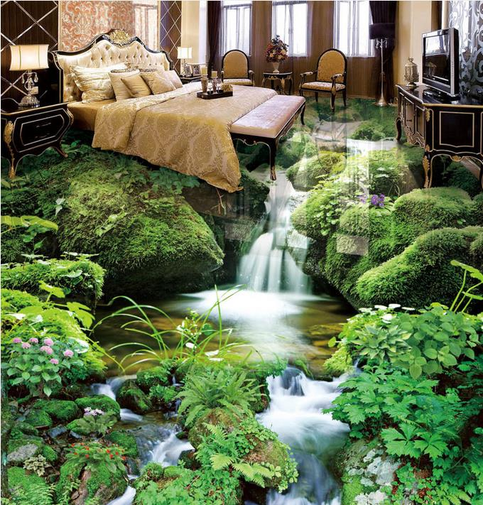 Custom 3d Floor Small Stream Landscape Wall Papers Home
