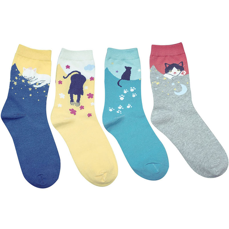 5 Pairs/lot Women   Socks   Multicolor Cute Cat Harajuku Animal Design Women's Casual Cotton Crew   Socks   Christmas   Sock   Meias Hosiery