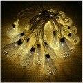 20 светодиодов Свет Шнура ЕС/США Plug Рождественские Гирлянды Свет Фея Рождество Свадьба Фестиваль Украшения Дома полые кулон
