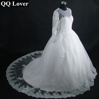 QQ Lover 2017 New Dubai Elegant Long Sleeve Wedding Dress Sheer Crew Neck Lace Appliques Beaded